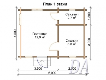 Дачный домик Д-5 план первого этажа