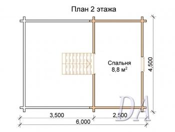 Дачный домик Д-5 план второго этажа