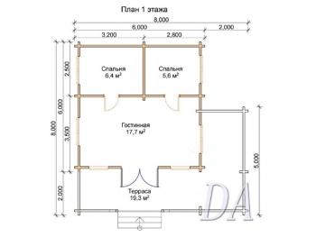 Дачный дом Д-3 план первого этажа