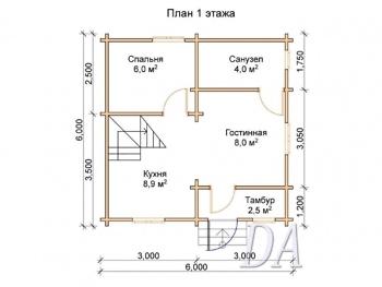 Дачный дом Д-8 проект первого этажа