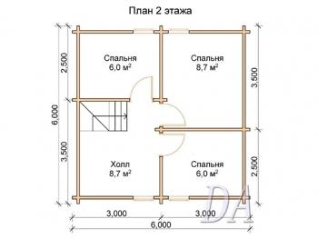 Дачный дом Д-8 проект второго этажа