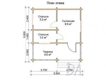Дачный домик Д-26 план