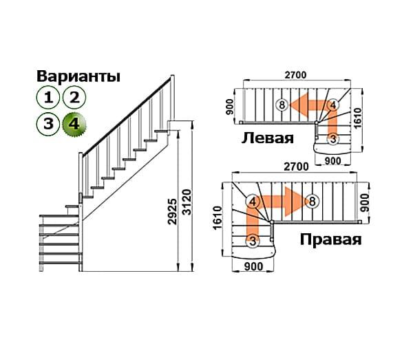Деревянная лестница на второй этаж К-001м-4