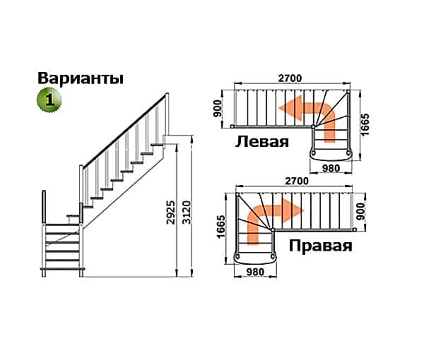 Деревянная лестница на второй этаж К-021м