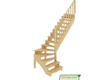 Деревянная лестница на второй этаж К-001м-1