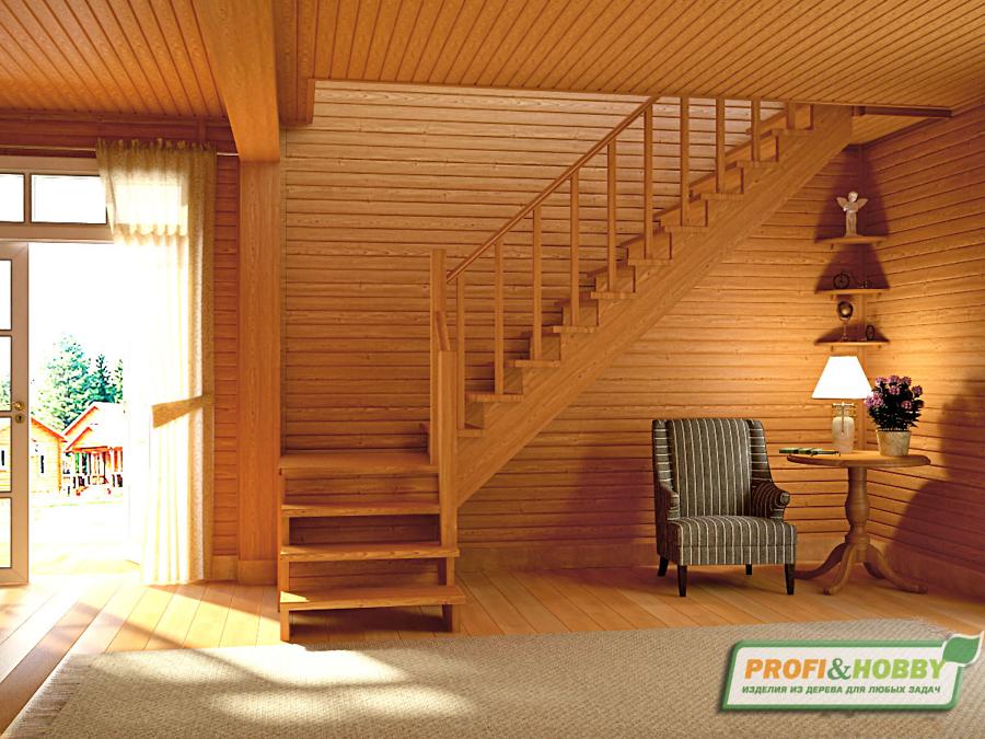 Деревянная лестница на второй этаж К-002м-1