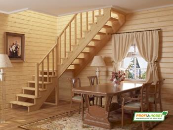 Деревянная лестница на второй этаж К-002м-3