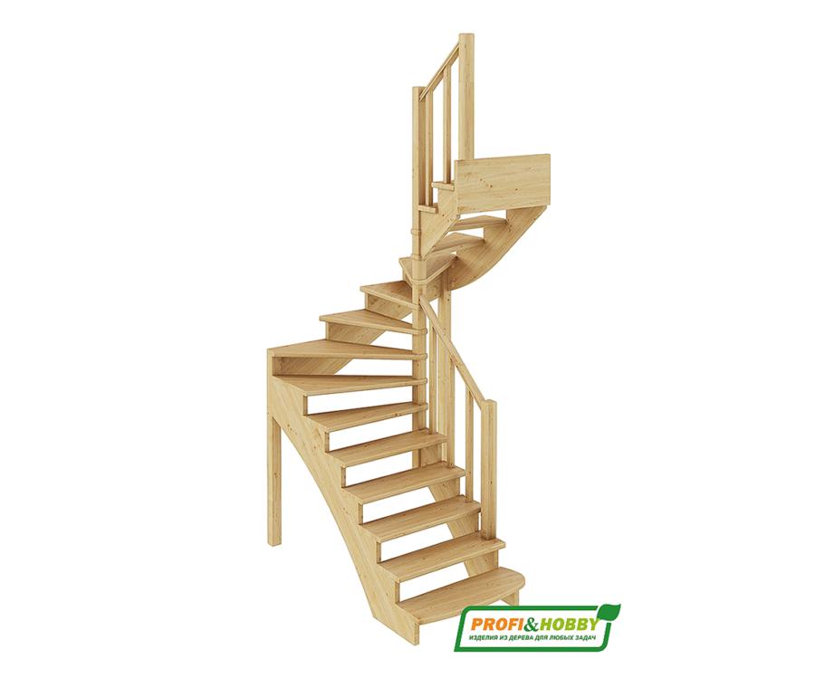 Деревянная лестница на второй этаж К‑003м‑3