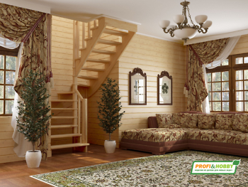Деревянная лестница на второй этаж К‑003м‑4