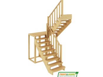 Деревянная лестница на второй этаж К‑004м‑2