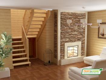 Деревянная лестница на второй этаж К‑004м‑3