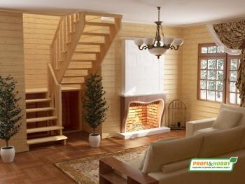 Деревянная лестница на второй этаж К‑004м‑4