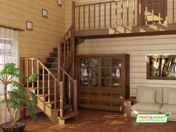 Деревянная лестница на второй этаж К-009м