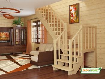 Деревянная лестница на второй этаж К‑022м