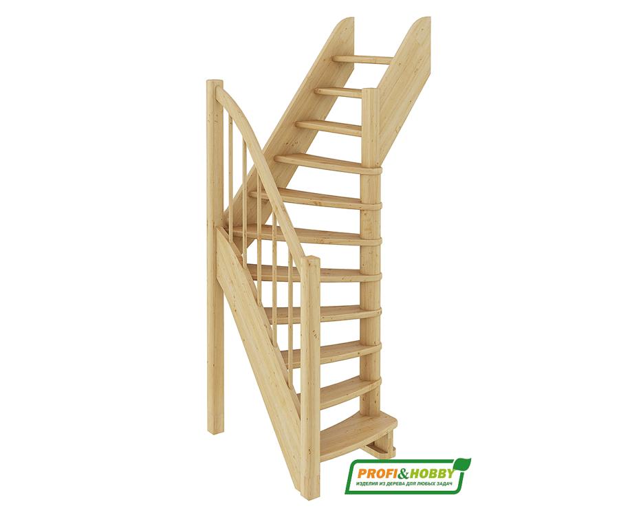 Деревянная лестница на второй этаж ЛС-91м‑1