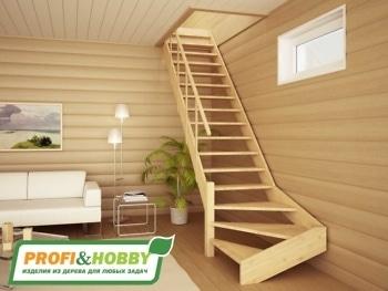 Деревянная лестница на второй этаж ЛС-14м
