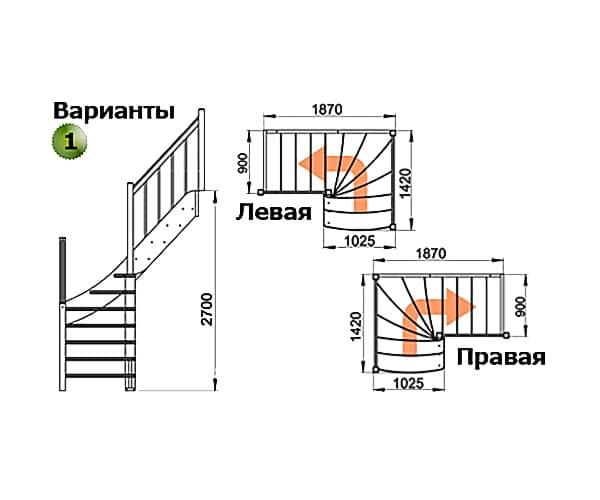 Деревянная лестница на 2-й этаж ЛС-09м-1