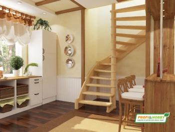 Деревянная лестница на второй этаж ЛС-01м