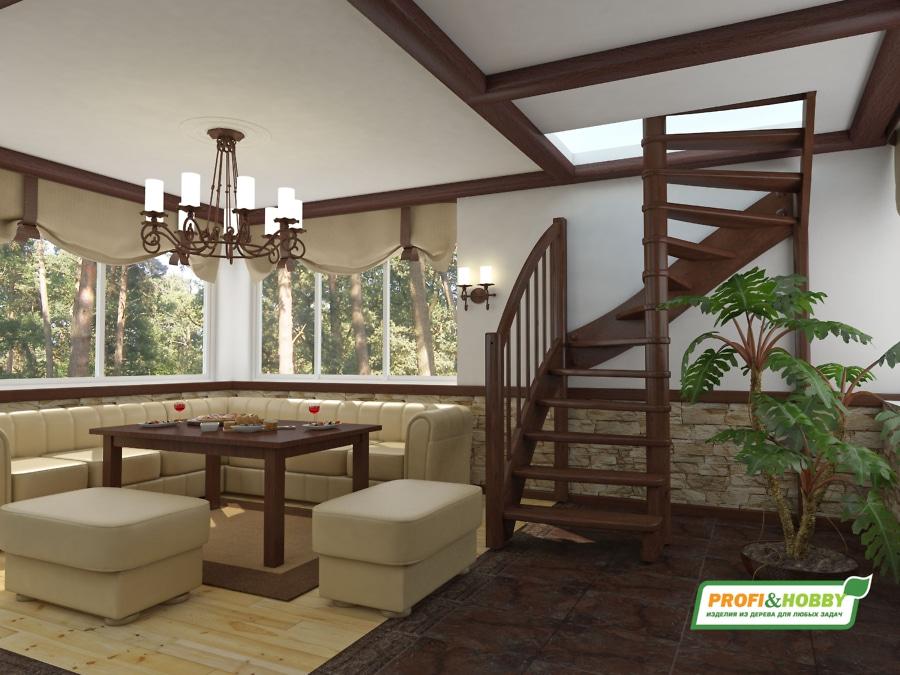 Деревянная лестница на второй этаж ЛС-04м