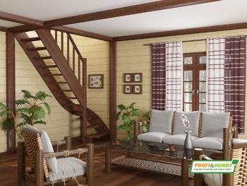 Деревянная лестница на второй этаж ЛС-07м-2
