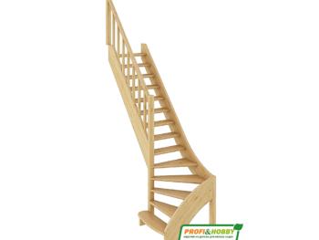 Деревянная лестница на второй этаж ЛС-07м-3