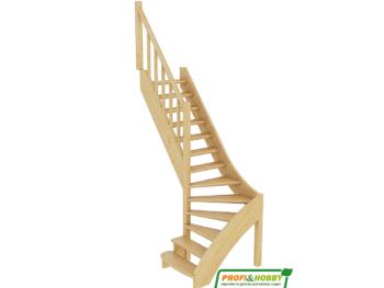 Деревянная лестница на второй этаж ЛС-07м-4