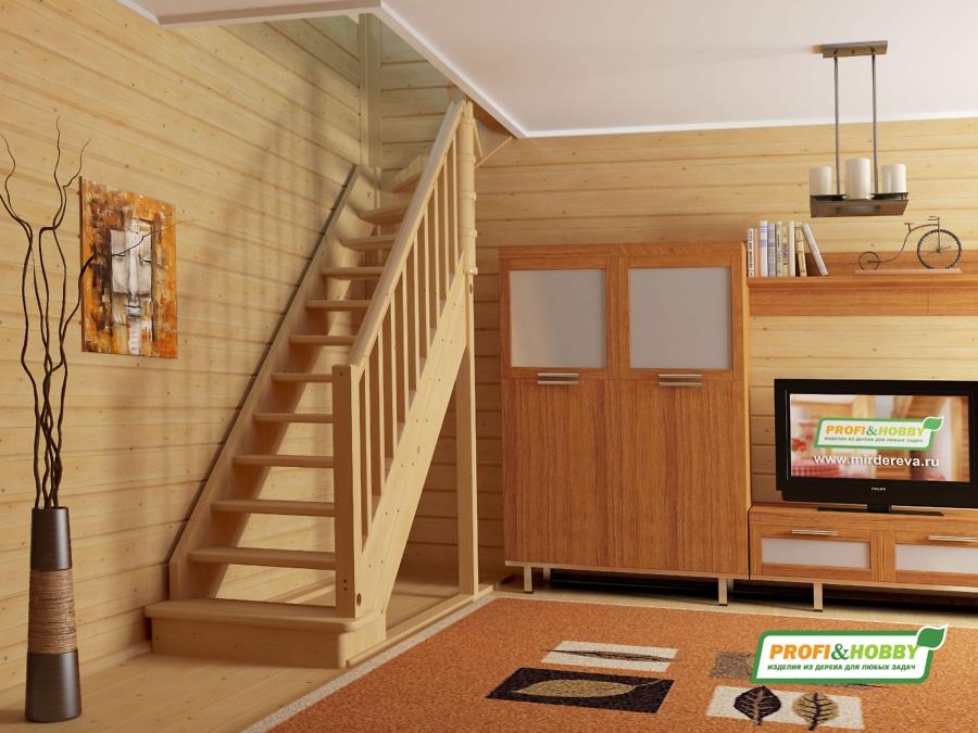 Деревянная лестница на второй этаж ЛС-215м